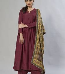 maroon embroidered muslin zari_work long-kurtis