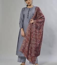 grey embroidered muslin zari_work long-kurtis