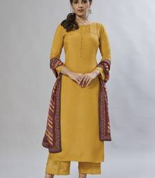 mustard embroidered muslin zari_work long-kurtis