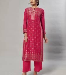pink embroidered jacquard zari_work long-kurtis