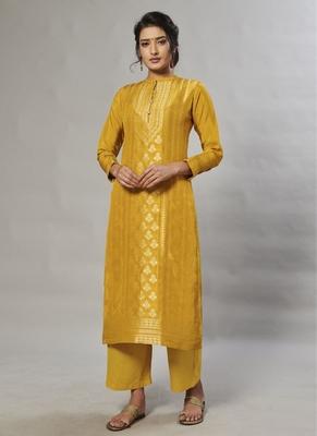 yellow embroidered jacquard zari_work long-kurtis