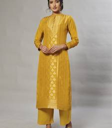 yellow embroidered jacquard zari_work long-kurtis