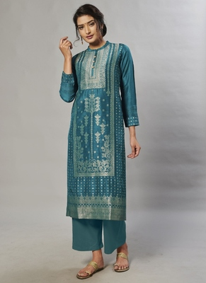 blue embroidered jacquard zari_work long-kurtis