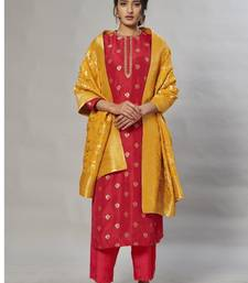 red embroidered jacquard zari_work long-kurtis