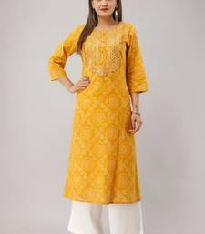 Yellow Colored Embroidered Work Cotton Kurta