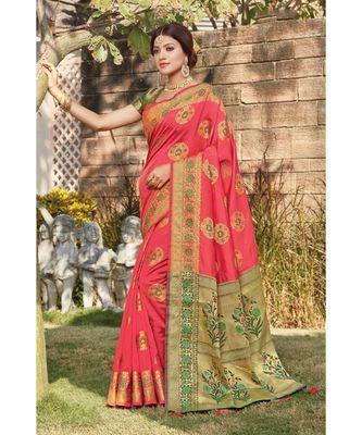 Sangam Prints Women's Silk Sirki Work Saree with Blouse Piece (SGMNJ-1005,Pink)