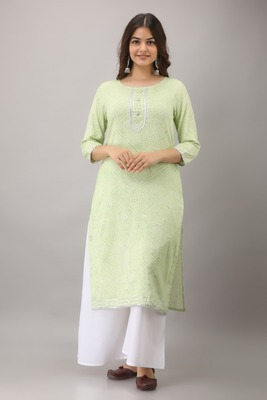 Green Colored Foil Print Rayon Kurta