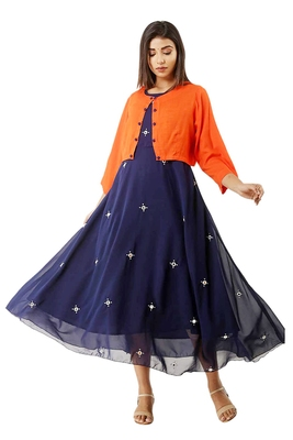 WOMEN GEORGETTE NAVY BLUE EMBROIDERY DESIGNER GOWN AND JACKET ORANGE