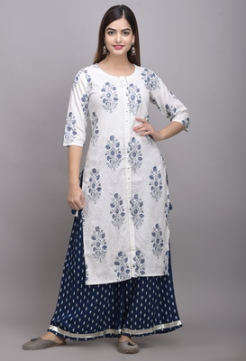 Jaipur Fashion Mode Womens Rayon Printed Straight Kurta Palazzo Set (White & Navy Blue)