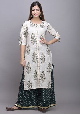 Jaipur Fashion Mode Womens Rayon Printed Straight Kurta Palazzo Set (Green)