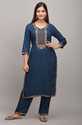 Jaipur Fashion Mode Womens Rayon Embroidered Straight Kurta Palazzo Set (Blue)
