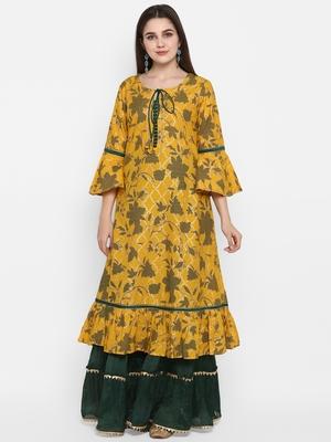 Yellow printed cotton long-kurtis