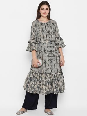 Grey printed cotton long-kurtis