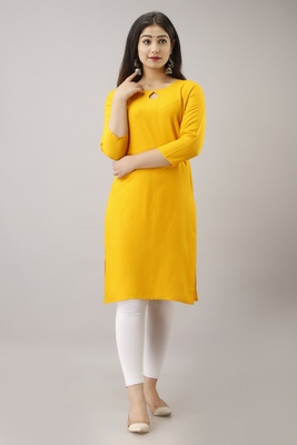 WOMAN'S SOILD COLOR KURTI KURTA FOR OFFICE AND CASUAL WEAR YELLOW