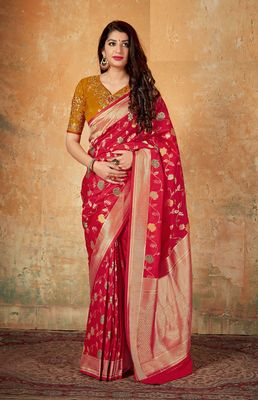 Ruby woven banarasi silk saree with blouse