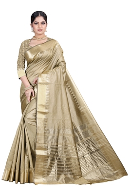 Beige woven silk blend saree with blouse