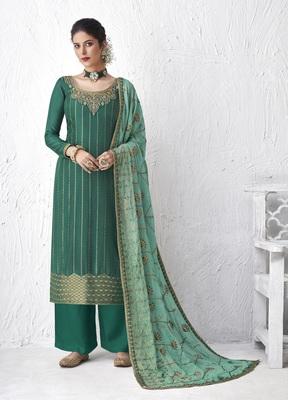 Aqua-blue embroidered silk salwar