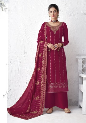 Magenta embroidered silk salwar