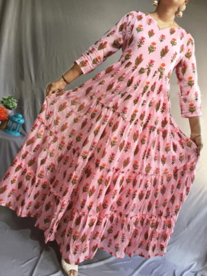 Pink Colored Full Flared Floor Length Dress With Gotta Patti Lace