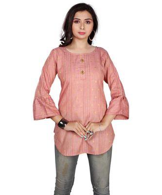 Women Self Design, Woven Design Pure Cotton Straight Kurta (Pink)