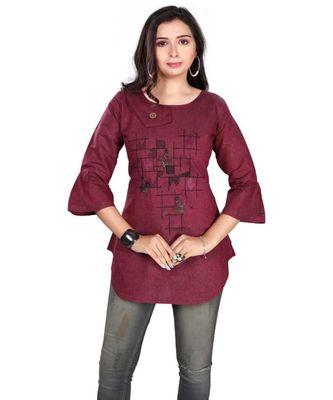 Women Embroidered Khadi Cotton Straight Kurta (Pink)