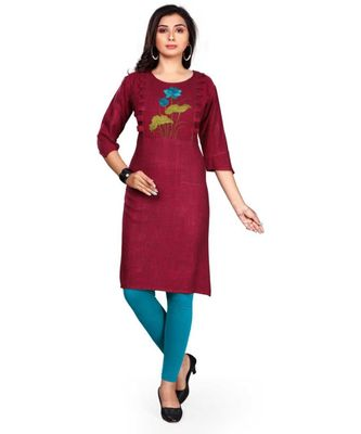 Women Embroidered Rayon Straight Kurta (Pink)