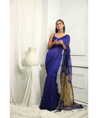 Blue Makhline Blended Silk Saree With Blouse
