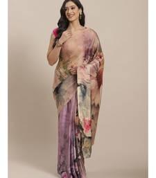 Shaily Women's Beige Satin Printed Saree