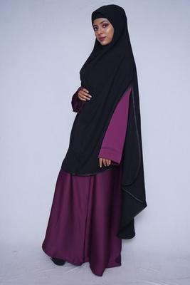 women's salafi/maftha/hijab/makhna/prayer hijab side cut BLACK-XL