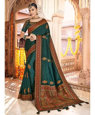peacock blue saree with kashmiri jacquard pallu and borders