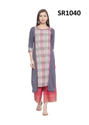 Grey Printed Viscose Round Neck kurti