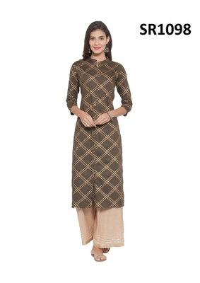 Green Printed Viscose Band / Mandarin / Chinese Collar kurti