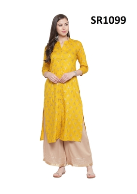 Mustard Printed Viscose Band / Mandarin / Chinese Collar kurti