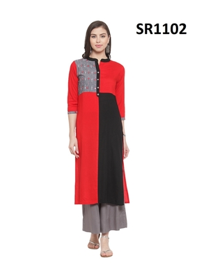 Red Printed Viscose Band / Mandarin / Chinese Collar kurti