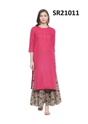 Pink Printed Cotton Round Neck kurti