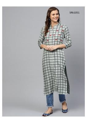 Olive Printed Viscose Band / Mandarin / Chinese Collar kurti
