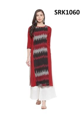 Red Printed Viscose Round Neck kurti