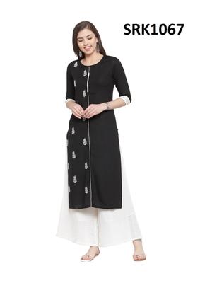 Black Printed Viscose Round Neck kurti