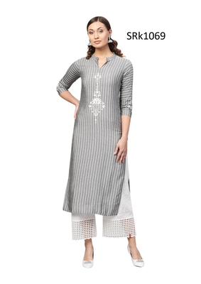 Grey Printed Viscose Band / Mandarin / Chinese Collar kurti