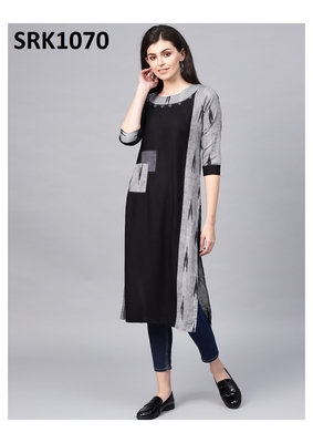 Black Printed Viscose Round Neck kurti