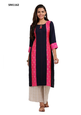 Navy Blue Printed Viscose Round Neck kurti