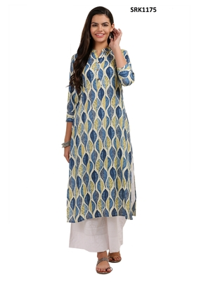 Beige Printed Viscose Band / Mandarin / Chinese Collar kurti