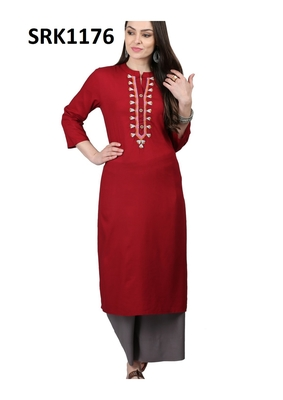 Maroon Printed Viscose Band / Mandarin / Chinese Collar kurti