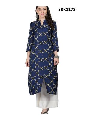 Navy Blue Printed Viscose Band / Mandarin / Chinese Collar kurti