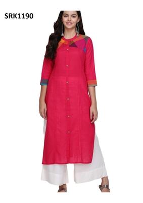 Pink Printed Cotton Band / Mandarin / Chinese Collar kurti