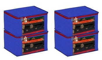 ATORAKUSHON FABRIC 4 PIECE SAREE COVER CLOTHES STORAGE BAGS GARMENTS WARDROBE ORGANISER (BLUE)