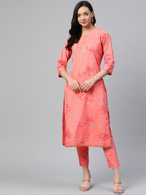 Peach printed cotton ethnic-kurtis