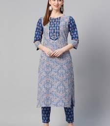 Royal-blue printed cotton ethnic-kurtis