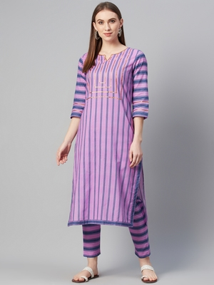 Purple printed cotton cotton-kurtis
