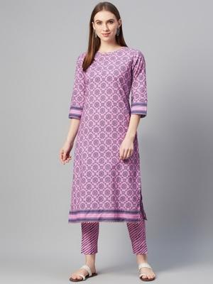 Purple printed cotton ethnic-kurtis